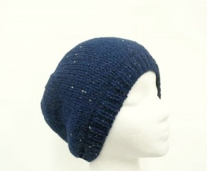 Blue beanie sparkle knitted hat