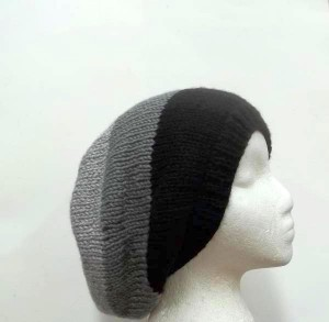 Slouch hat Shades of gray and black men women = All hand knitted items on sale. 15%off