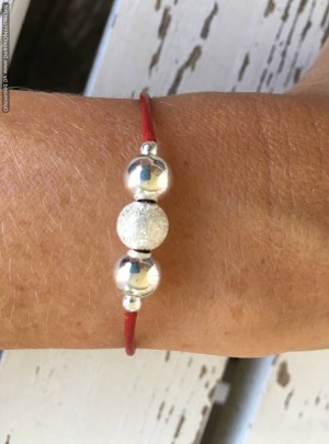 Red Leather Bracelet with Silver Beads, Great for Stacking Layering, Trendy Jewelry, Adjustable with Extension Chain
