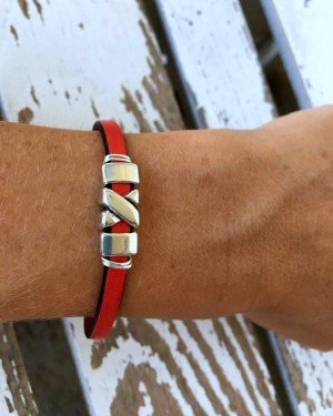 Red Leather Bracelet with Antiqued-Silver Mini X Shaped Sliders, Adjustable with Extension Chain