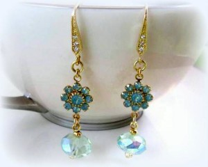 Pacific Opal Swarovski Crystal Gold Flower Earrings with Peridot Green Rondelles, Light Green, Dangle and Drop Beaded Jewelry