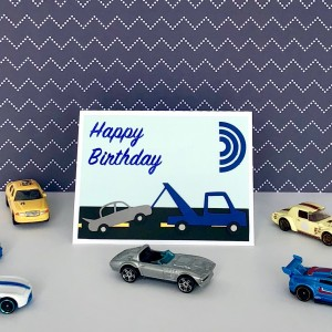 Happy Birthday Card with Tow Truck