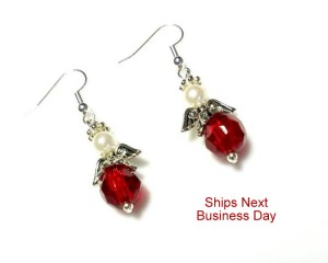 Red Angel Earrings with White Swarovski Pearls  and Antiqued Silver Wings, Hypoallergenic or Nickel Free, Guardian Angel