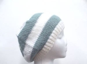Beanie hat blue white stripes knitted SALE