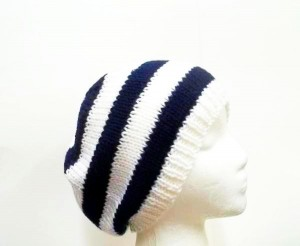 Beanie beret hat navy and white stripes