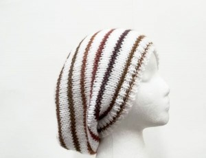 Oversized beanie hat white with colorful stripes–  SALE