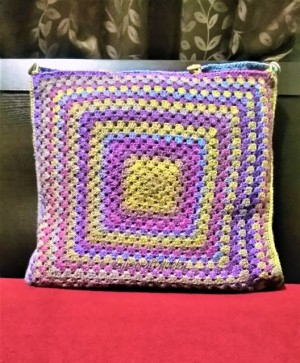 Granny Square Cushion Cover with Top Opening Buttons