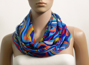 Infinity Scarf Women Chiffon Blue Multicolor Summer Scarves Psychedelic Printed Cowl Scarf Loop Tube Scarf Gift for her Fashion Accessories