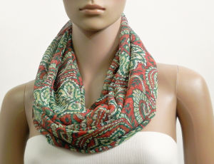 Summer Infinity Scarf Women Chiffon Green Red Paisley Floral Scarves Boho Loop Tube Scarf Circle Cowl Scarf Gift for her Fashion Accessories
