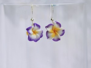 Purple Plumeria Flower Earrings