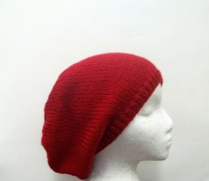 Knitted red slouchy beanie hat
