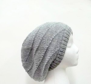 Gray slouch hat knitted