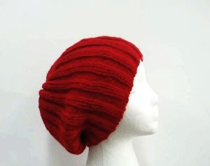 Slouch beanie hat red knitted ribbed hat