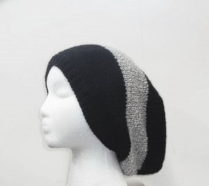 Slouch Hat Oversized beanie black and gray knitted