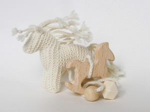 Wooden teether toy Rocking HORSE with Knitted Horse pendant
