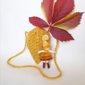 Tiny Knitted Fairy Doll in Leaf bag