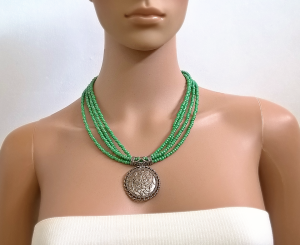 Green Silver Multistrand Necklace Statement Necklaces For Women Layered Beaded Necklace Chunky Boho Jewelry Gift for her Bridesmaid