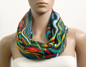 Infinity Scarf Women Chiffon Green Multicolor Summer Scarves Psychedelic Printed Cowl Scarf Loop Tube Scarf Gift for her Fashion Accessories