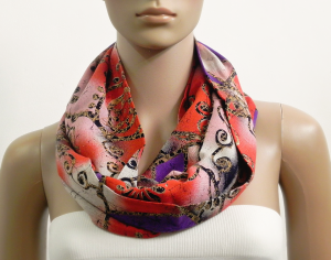 Long Red Infinity Scarf Women Summer Black Viscose Scarves Chunky Circle Cowl Scarf Shawl Loop Tube Scarf Gift for her Fashion Accessories