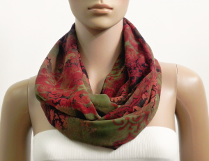Red Infinity Scarf Women Green Spring Summer Scarves Multicolor Loop Tube Scarf Circle Cowl Scarf Shawl Gift for her Fashion Accessories