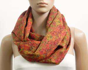Chunky Infinity Scarf Women Orange Viscose Summer Scarves Circle Cowl Scarf Long Loop Tube Scarf Shawl Gift for her Fashion Accessories