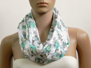 Long Infinity Scarf Women Summer White Green Floral Scarves Boho Circle Cowl Scarf Shawl Loop Tube Scarf Gift for her Fashion Accessories