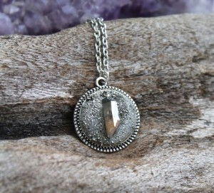 Pyrite & Aura Quartz Necklace