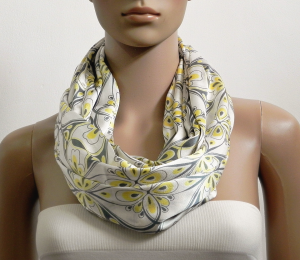 White Floral Infinity Scarf Shawl Soft Satin Fashion Scarves for Women Circle Cowl Scarf Long Tube Scarf Summer Scarf Gift for her Handmade