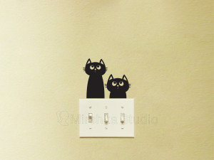 two cute cats fabric decal