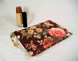 Small makeup pouch, velvet soft fabric with embossed metallic gold