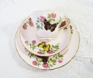 """Rare Tuscan China """"June Glory"""" Tea Trio, Baby Pink with Butterflies and Pink Blossoms"""