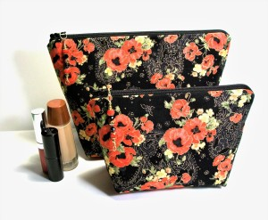 Makeup bag set, two great sizes, red floral on black background, beaded zipper pulls, cosmetic storage, lovely for travel, gadget bags
