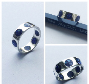 Sterling Silver Ring with Crushed Blue Oyster Shell Inlay