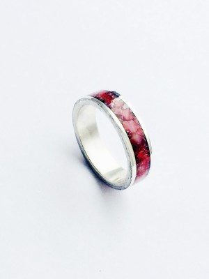 Beautiful Sterling Silver Genuine Red Coral Channel Inlay Ring