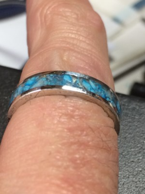 Beautiful Sterling Silver Genuine Turquoise Channel Inlay Ring