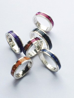 Crushed Shell Inlaid Sterling Silver Rings