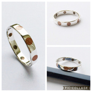 Handmade Sterling Silver Ring with Inlaid Copper Dots