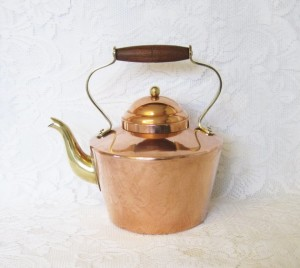 Tagus Copper and Brass Tea Kettle with Turned Wooden Handle