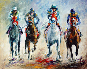 HORSE RACING — PALETTE KNIFE Oil Painting On Canvas By Leonid Afremov