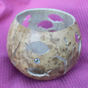 Decorative Gourd Bowl, Hand-Cut Sea Life Design
