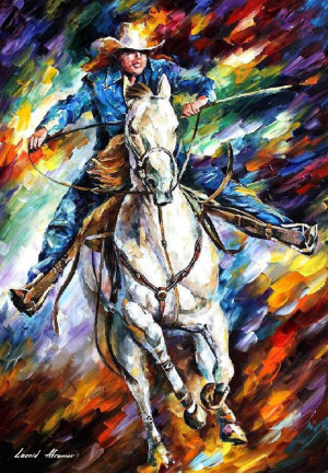 RIDER — PALETTE KNIFE Oil Painting On Canvas By Leonid Afremov