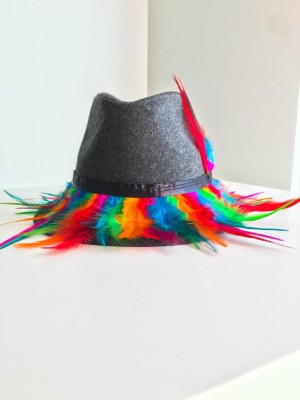 Colorful Feather Gypsy Handmade Cotton Gray Fedora Hat