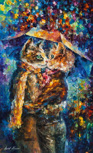 CAT KISS — PALETTE KNIFE Oil Painting On Canvas By Leonid Afremov
