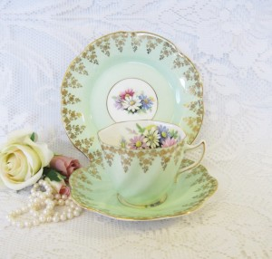 Rosina China Mint Green Tea Trio with Gold Floral Border
