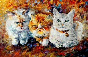 KITTENS — PALETTE KNIFE Oil Painting On Canvas By Leonid Afremov
