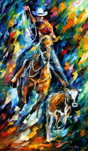 COWBOY — PALETTE KNIFE Oil Painting On Canvas By Leonid Afremov
