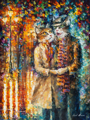 CAT COUPLE — PALETTE KNIFE Oil Painting On Canvas By Leonid Afremov