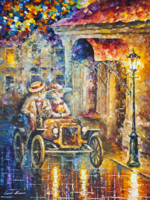 Cat Car — PALETTE KNIFE Oil Painting On Canvas By Leonid Afremov
