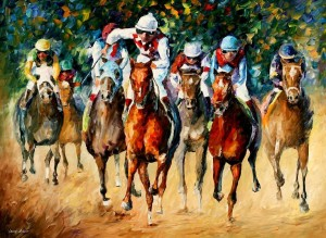 HORSE RACE — PALETTE KNIFE Oil Painting On Canvas By Leonid Afremov