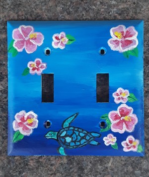 Light Switch Cover of an Ocean and a Turtle and Flowers